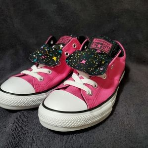 Girls Youth Converse size 3 pink and black